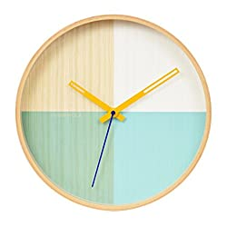 Cloudnola Flor Wood Wall Clock Turquoise, 11.8 inch Diameter, Battery Operated Quartz Movement, Silent Non Ticking