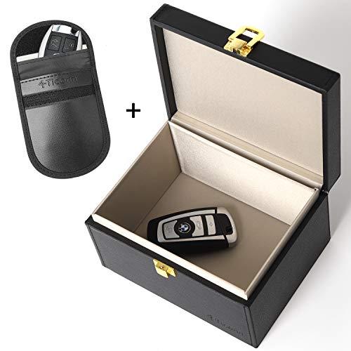 TICONN Faraday Box + Bag Bundle, Car Key Fob Protector, Signal Blocker for Keyless Fob, RFID Signal Blocking Pouch Cage