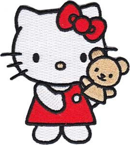 Sanrio Hello Kitty Iron On Patch - Red Dress Cat w/ Teddy Bear Applique - Hello Kitty Applique