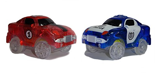 Replacement Toy Racing Car and Police Car (2-Pack) with 5 LED Lights Compatible with Most Tracks Including Magic Tracks for Boys and Girls