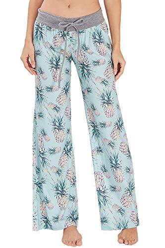 Women's Casual Pajamas Pants Tropical Aloha Hawaiian Pineapple Summer Wide Leg Palazzo Lounge Pants High Waisted Drawstring Comfy Sleepwear Trousers Pyjamas