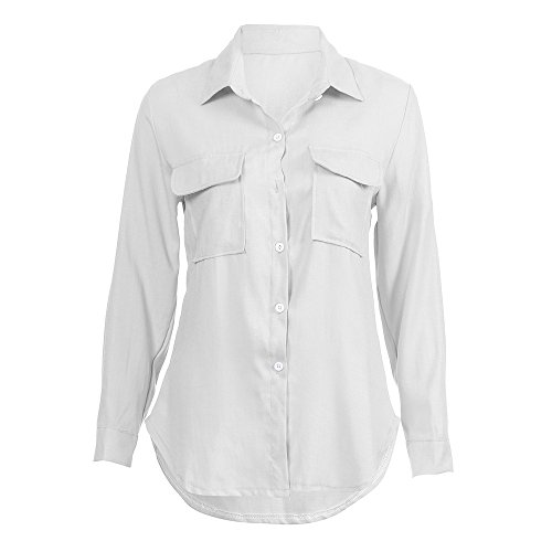 LEvifun Tee Chemisier Hauts Femme Solide Automne Mode Tunique Sexy Lin Blanc Top T Pullover Manche Longue Blouse Shirt Casual Boutonns Chemise Dames Coton Shirt Chic Poche r6wvnxr7Yq