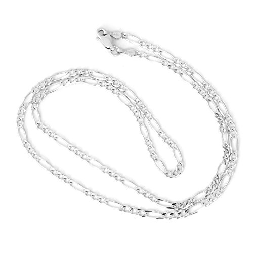 Men's 14k Solid White Gold Figaro 3mm Chain Necklace, 20'' by Beauniq