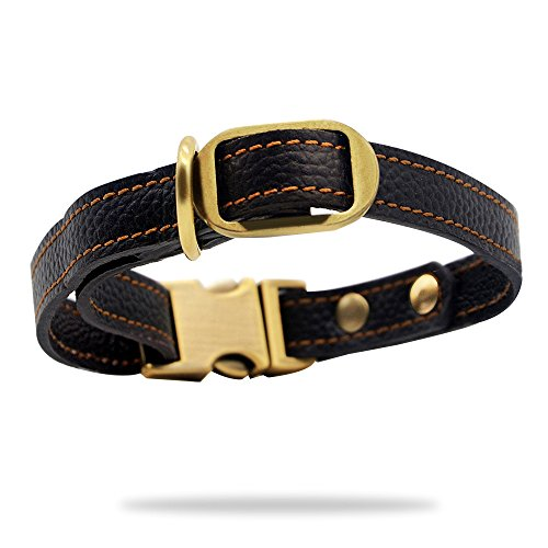 Wellbro Luxury Genuine Leather Collar, Pets Collar for Puppies, Adjustable 9.6-13.2x0.6 Inch, Black
