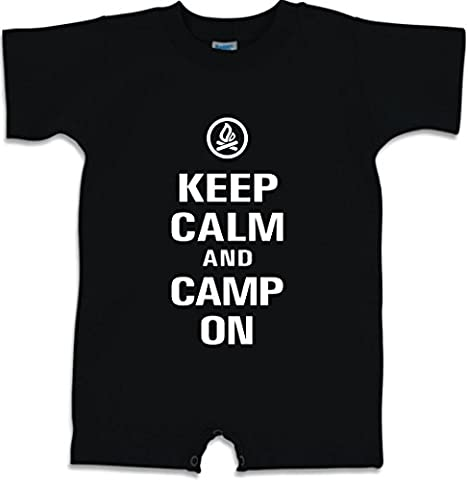 Funny Baby Romper Size 12M (Keep Calm and Camp On) Infant T-Shirt - Signature Camp Shirts