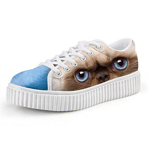 Abbracci Idea Moda 3d Animal Face Printg Scarpe Basse Basse Sneakers Piattaforma Cat8