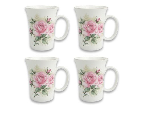 (Gracie Bone China 10-Ounce Trumpet Mug, Pink Green Rose Bouquet, Set of 4)