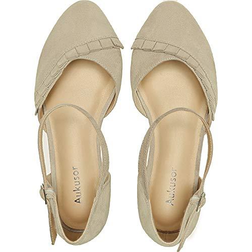 Women's Wide Width Flat Sandals - Ankle Strap Single Band Buckle Cozy Summer Shoes.(181112 BeigeMF 8.5)