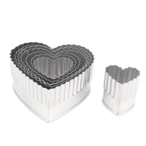 uxcell Stainless Steel Heart Shape Cake Cookie Mold Cutter Set 8 in 1w Box (8 Inch Heart Shaped Cookie Cutter)