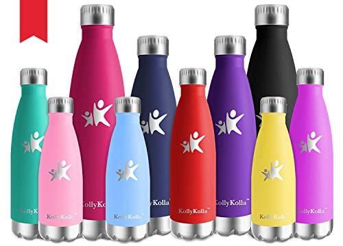 KollyKolla Botella de Agua Acero Inoxidable, Termo Sin BPA Ecologica, Botellas Termica Reutilizable Frascos Termicos para Ninos & Adultos, Deporte, Oficina, Yoga, Ciclismo, (500ml Rojo)
