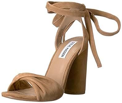 Steve Madden Women's Clary Dress Sandal, Camel Suede, 6 M US