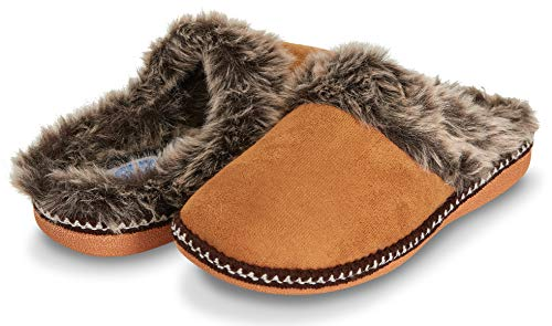 Floopi Womens Indoor Outdoor Aztec Two Tone Fur Lined Clog Slipper W/Memory Foam (M, Chestnut-305)