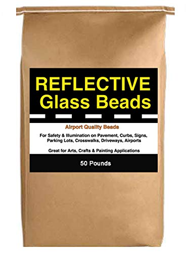 Reflective Glass Beads (50 LB Bag) for Traffic Paint, Road Marking, Curb Paint, Pavement Striping, Parking Lots, Crosswalks, Driveways, Airports, Traffic Signs, Painting, Arts & Crafts (50 Lb - Beads 50 Pack