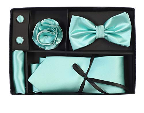 ie Bow Tie Pocket Square Lapel Pin Cufflinks Gift Set For Suit & Tuxedo - Many Colors (Aqua TB-125) ()
