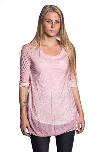 Abbino 5256 Camisa de manga larga básica para Mujeres - Hecho en ITALIA - Colores Variados - Entretiempo Primavera Verano Otoño Mujeres Femeninas Delicado Elegantes Manga Larga Fiesta Rebajas Rosa (Art. 5256)
