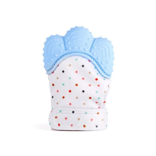 Baby Teething Mitten, Silicone Baby Teether Mitten for Babies Self-Soothing Pain Relief, Wearable Baby Teething Toy Teething Glove, BPA Free Safe Food Grade Baby Teething Mitt, ()
