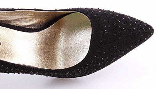 LIU JO Zapatos Decolletè de Tacones Mujeres Clio Micro Fibra Negro Strass Nuevo