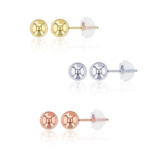 14K White, Yellow, Rose Gold 5mm Ball Stud Earrings (3 Pack Set) (Yellow Rose 14k White)