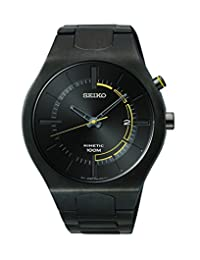 Seiko SKA649 Men's Black Dial Black IP Steel Bracelet Power Reserve Kinetic Watch