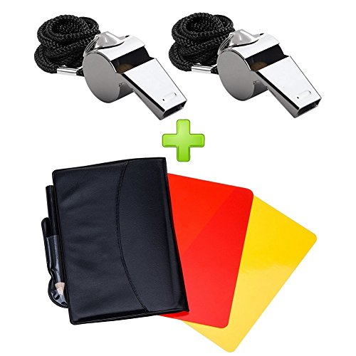 Friencity Sports Referee Card Set Red Yellow Card and 2 Pieces Coach Referee Metal Whistles with Lanyard Bulk, Extra Loud Stainless Steel Whistle for School Sports, Soccer, Football, Basketball
