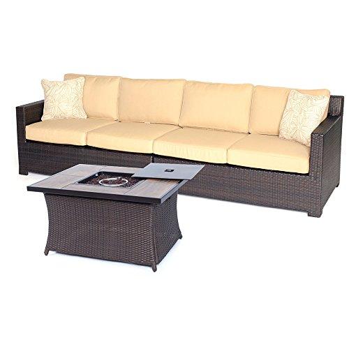 Hanover METRO3PCFP-TAN-A Metropolitan 3 Piece Loveseat Set with Woven Fire Pit, Sahara Sand Outdoor Furniture