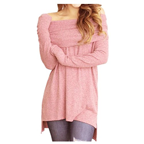 vermers Clearance Women Off Shoulder Tops - Fashion Sexy Women Loose Long Sleeve Strapless Ruched Blouse T Shirts(L, Pink) by vermers