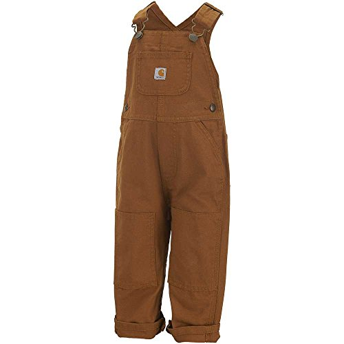 (Carhartt Kid's CM8609 Washed Duck Bib Overall - Boys - 6 Months - Carhartt Brown)