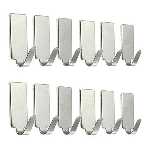 Yaida12PCS Self Adhesive Home Kitchen Wall Door Stainless Steel Holder Hook -