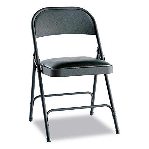 Alera ALEFC94VY10B Steel Folding Chair with Two-Brace Support, Padded Seat, Graphite, 4/Carton (Alera Chair Traditional)