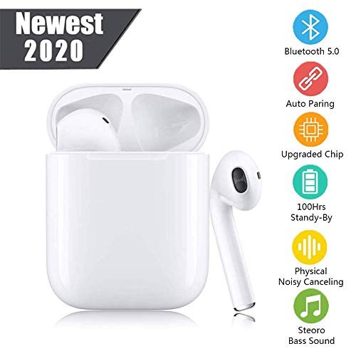 Wireless Earbuds Bluetooth 5.0 Headohones Touch Control Headsets,Built in Dual Mic in-Ear Ear Buds 3D Stereo Sound Noise Cancelling Earbuds IPX5 Waterproof Sports Earohones for iPhone/Andriod