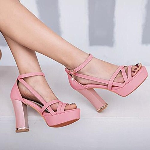 Easemax Kvinna Trendiga Gladiator Strappy Öppen Tå Ankel Spänne Remmar Hängande Plattformkicken Chunky Klack Sandaler Rosa