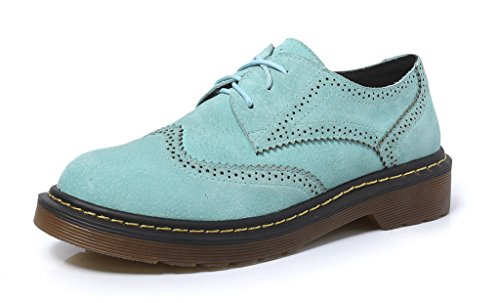 CAMSSOO Women's Classic Low Heel Flat Lace Up Oxford Brogues Wingtip Shoes 10Blue JHC6P9k