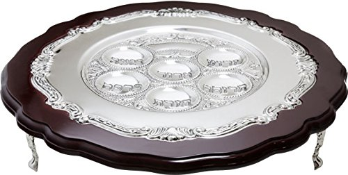 A&M Judaica 12362 Seder Plate in Wood & Silver Plated Stands, 3 in.