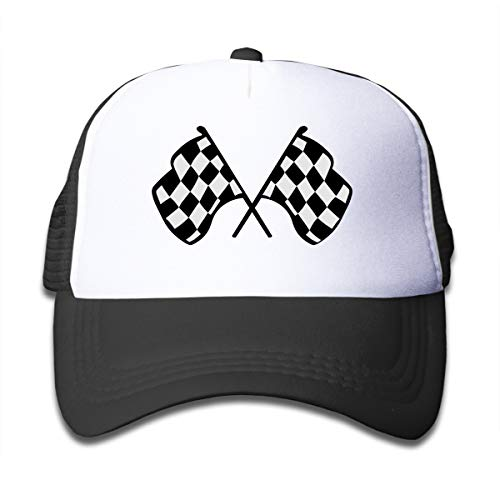 Qiop Nee Checkered Flags Race Car Flag Mesh Back Caps Trucker Baseball Hat for Boys Black (Checkered Flag Baseball Cap)