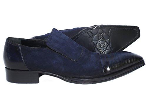 Jo Spöke 3047 Italienska Flottan Blu Kombinationer Läder / Mocka Slip På Skor