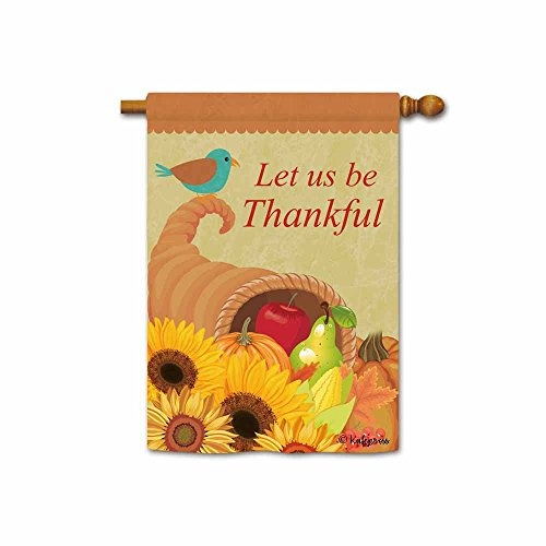 (Kafepross Let Us Be Thankful Harvest Pumpkin and Fruit Decorative House Flag Happy Fall Autumn Flowers Decor Banner for inside and outside 28