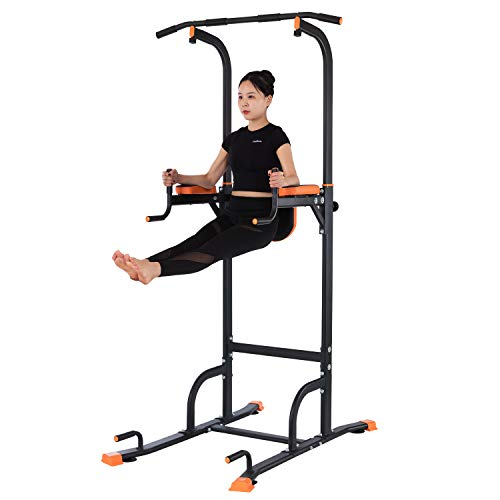 Kicode Power Tower, Dip Station with Push Up Bars, Pull Up Stations Strength Training Exercise Equipment, Adjustable Height Heavy Duty Workout Stand for Home Gym, Office