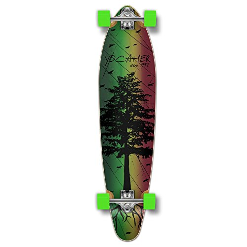 Yocaher in The Pines Rasta Longboard Complete Skateboard - Available in All Shapes (Kicktail)