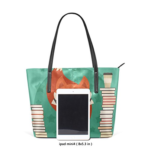Handbag Tote Glasses Books Pu Bags Coosun Leather Women For Many In Muticolour With Fox Means And Purse Bag qExxwgU8