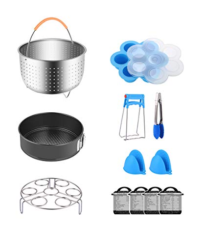 12-Piece Accessories for Instant Pot 6, 8 Qt, Steamer Basket, Egg Rack, Springform Pan, Egg Bites Mold, 4 Magnetic Cheat Sheets, Oven Mitts, Food Tong, Bonus Free Recipes eBook by Fopurs by Fopurs