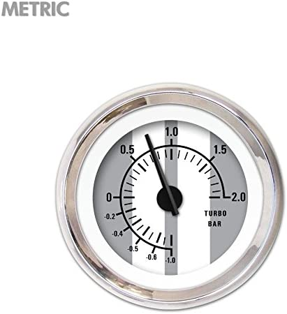Aurora Instruments 5759 Cobra Gray Metric Turbo Gauge Black Modern Needles, Chrome Trim Rings, Style Kit Installed