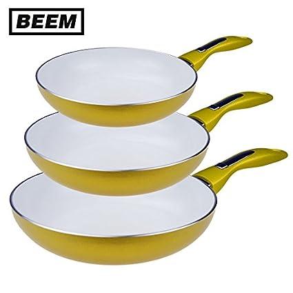 Beem Thermo Lux Oro Style – Juego de sartenes de 3 Piezas Sartén