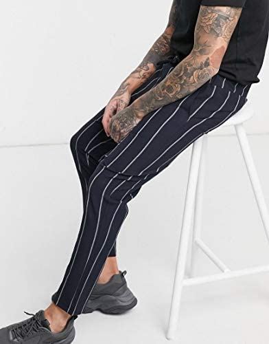 ブーフー スウェットパンツ メンズ boohooMAN wide set vertical stripe smart cropped jogger in blue [並行輸入品]