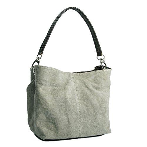 bhbs donne italiana piccolo sacchetto in pelle scamosciata–Reale Pelle Scamosciata italiana con imbottitura artificiale 28x 21x 15cm (LxHxP), grigio (Gris Léger), One