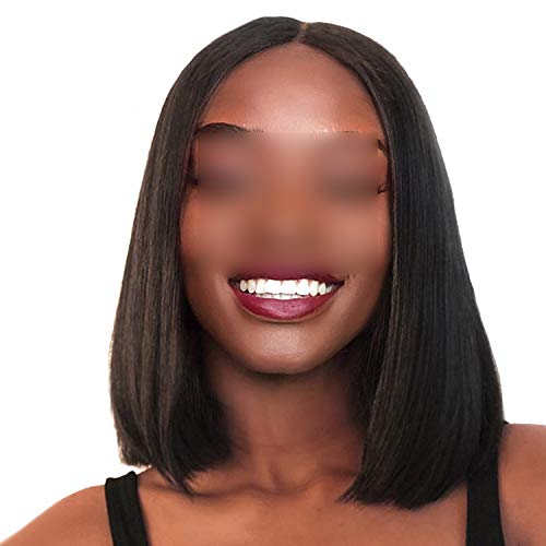 Carrie Short Lace Front Human Hair Wigs Brazilian Remy Hair Bob Wig With Pre Plucked Hairline With Baby Hairs,8Inches,France,150% -