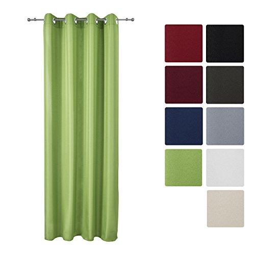 Beautissu® Blickdichter Ösen-Vorhang Amelie - 140x175 cm Grün Uni - Dekorative Gardine Ösenschal Fenster-Schal