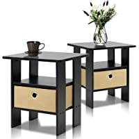 Furinno 2-11157EX End Table Bedroom Night Stand, Petite,...