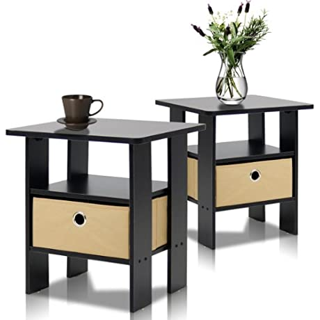 Furinno 2 11157EX End Table Bedroom Night Stand Petite Espresso Set Of 2