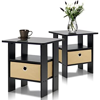 Amazoncom Furinno 11157EXBR End Table Bedroom Night Stand wBin