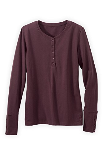 Fair Indigo Organic Fair Trade Long-sleeve Henley (S, Raisin)